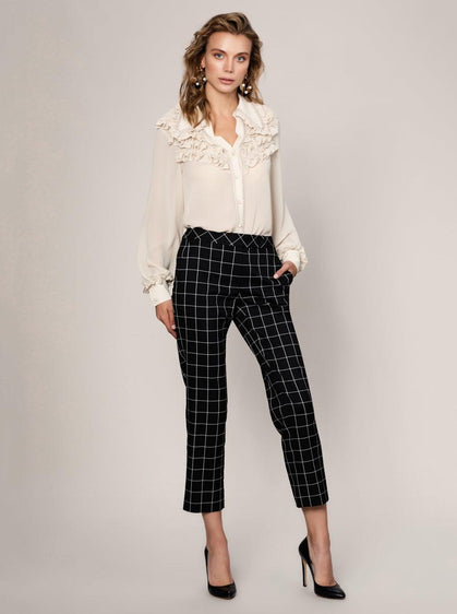 ROMAN USA-CHECKED PRINT CROPPED PANT-- [ORIGINAL]