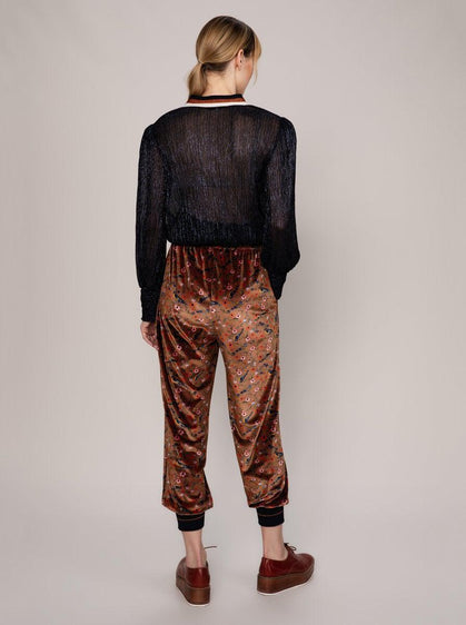 CROPPED VELOUR FLORAL PANT