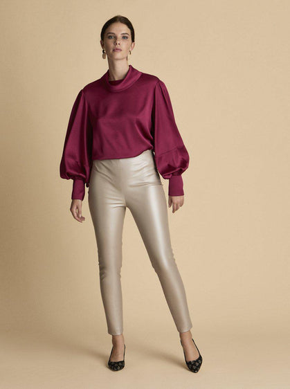 Pearly Finish Vegan Leather Pant
