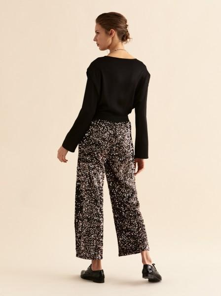 WIDE LEG CROPPED SEQUIN PANTS