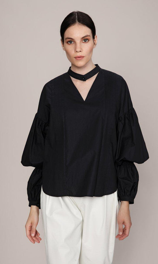 Boxy Tiered Bishop Blouse