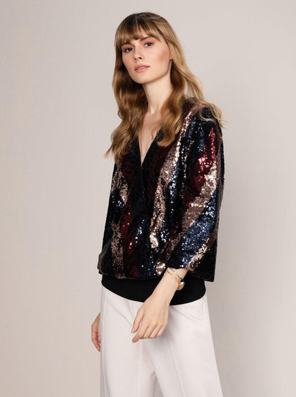Sequin V-Neck Wide Sleeve Top