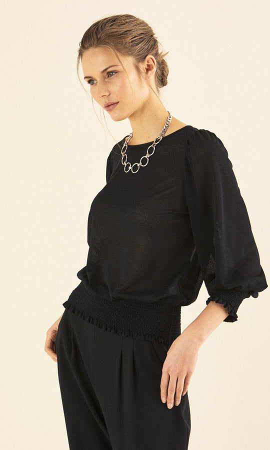 ELASTIC WAIST SLEEVE DETAILED BLOUSE