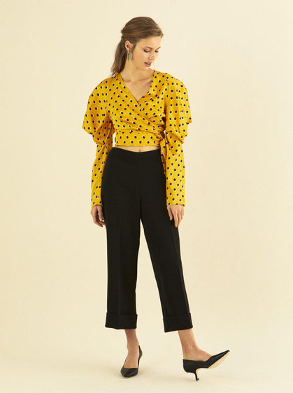 Puff Sleeve Polka Dot Wrap Blouse