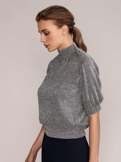 Glitter Mockneck Puff Sleeve Top
