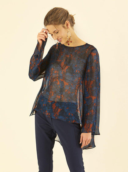 Sheer Floral Hi-Low Tunic