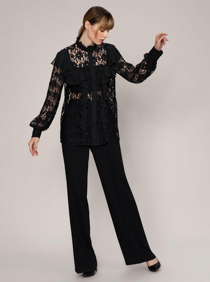NECKLINE DETAILED TRANSPARENT BLOUSE