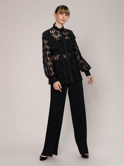 Black Lace Ruffle Blouse