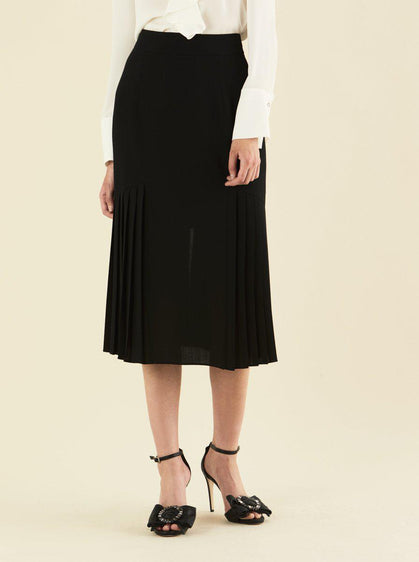 Black Pleat Panel Midi Skirt