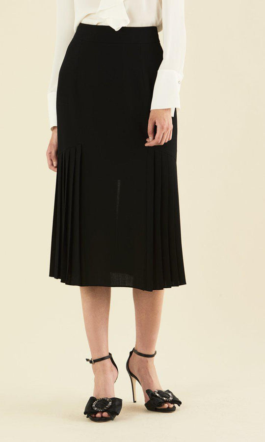 PLEATED MIDI BLACK SKIRT