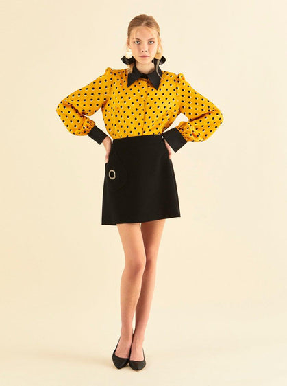 ROMAN USA-O-Ring Mini Skirt-- [MUSTARD]
