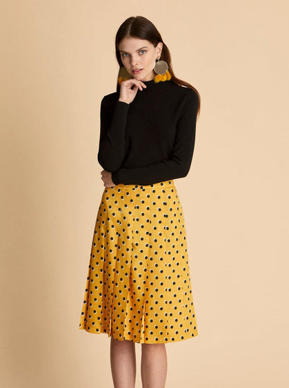 Pleated Polka Dot Mini Skirt