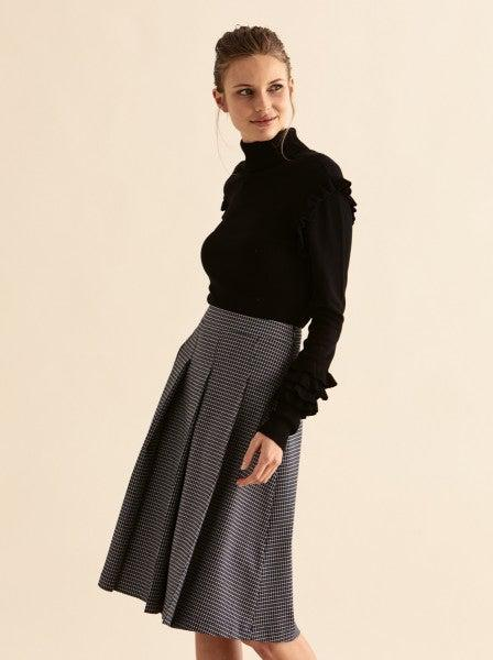 Grid Check Pleated Skirt