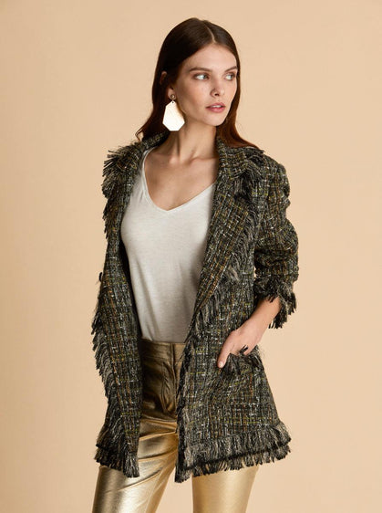 Tweed Fringe Coat