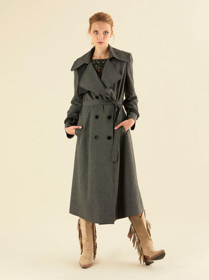 Wide Notched Collar Trench