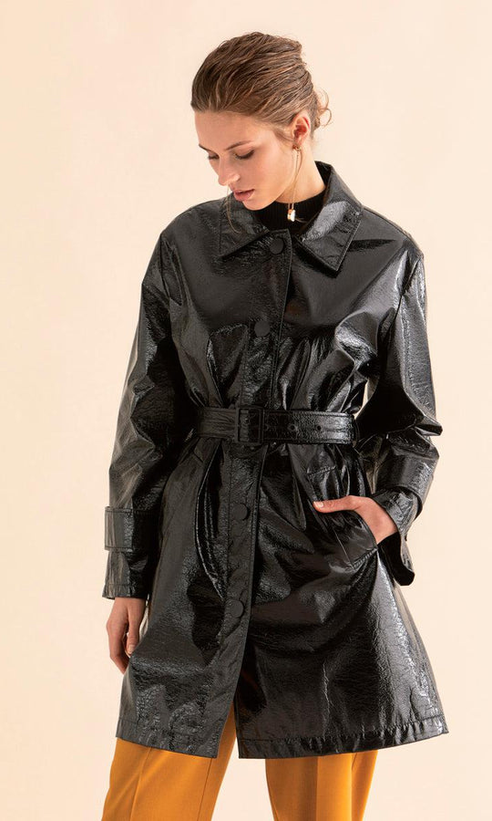 Belted Vegan Patent Leather Trench