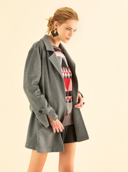 Notched Collar Grey Wool Coat