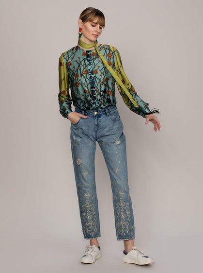 Light Wash Gold Embroidered Jeans