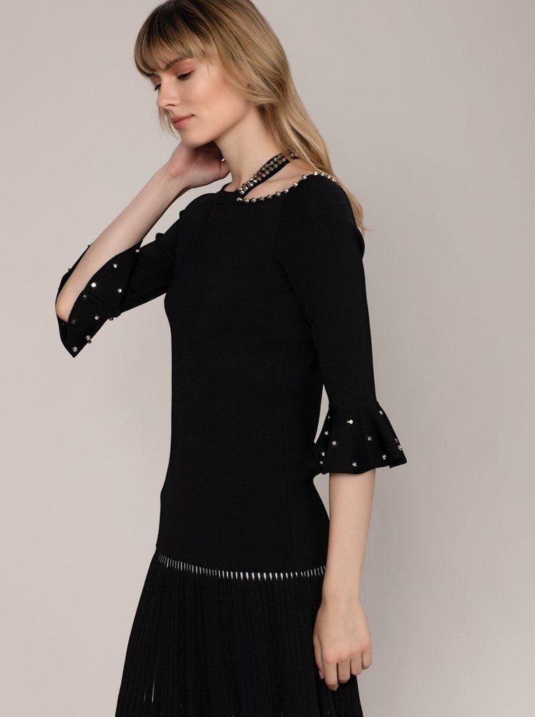 NECK AND SLEEVE DETAIL KNITWEAR TOP