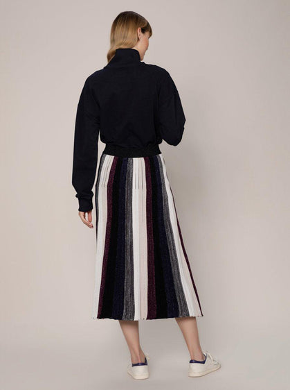 Pleated Color Panel Knit Midi Skirt