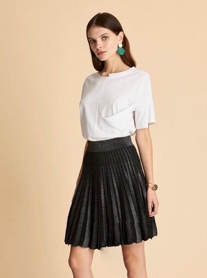 Shimmering Pleated Mini Skirt