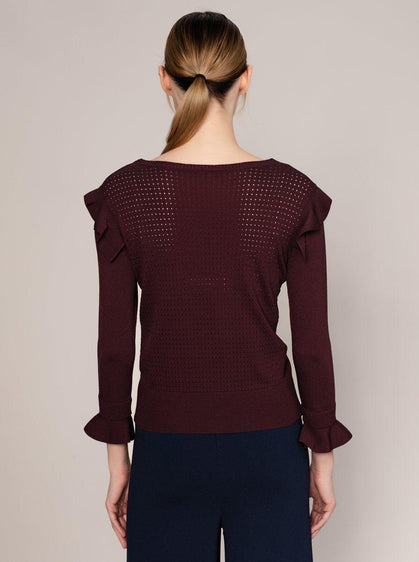 Burgundy Ribbed Flounce Trim Sweater