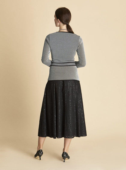 Belted Panel Knit Top