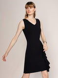 RUFFLE DETAILED BLACK KNITWEAR DRESS