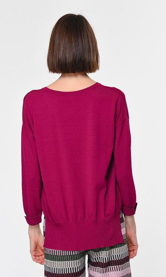 Loose Ribbed 3/4 Sleeve Sweater