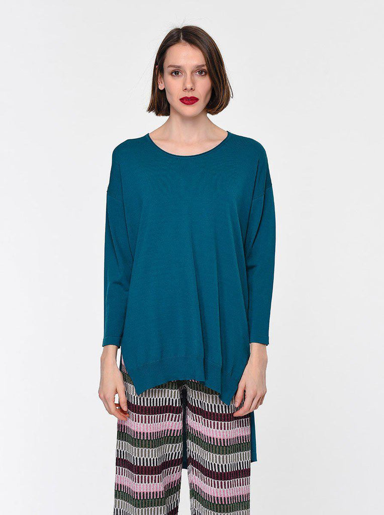 SHORT FRONT LONG BACK PETROL SWEATER