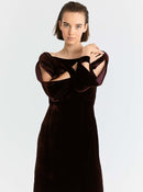 Slit-Sleeve Velour Gown