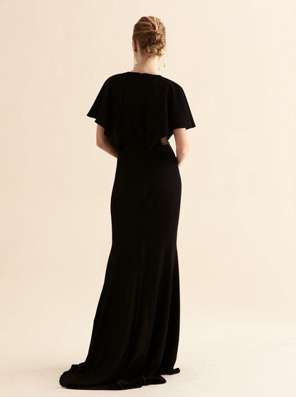 Cape Sleeve High-Slit Gown