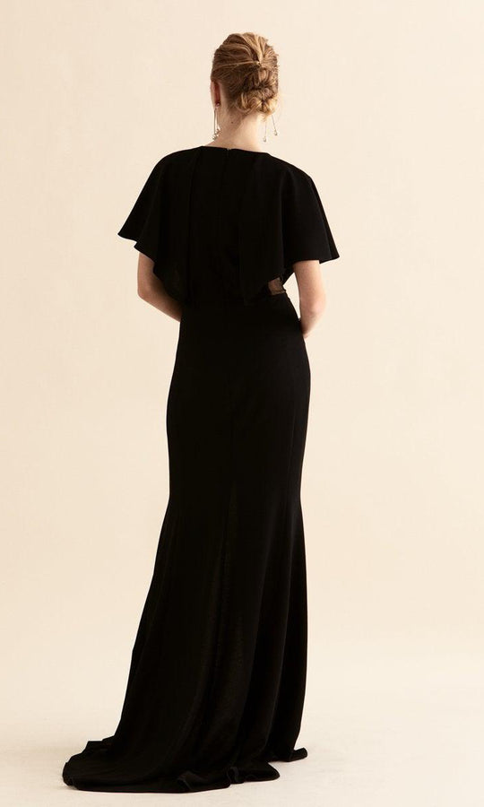 BLACK SHEER V-NECK DETAILED GOWN