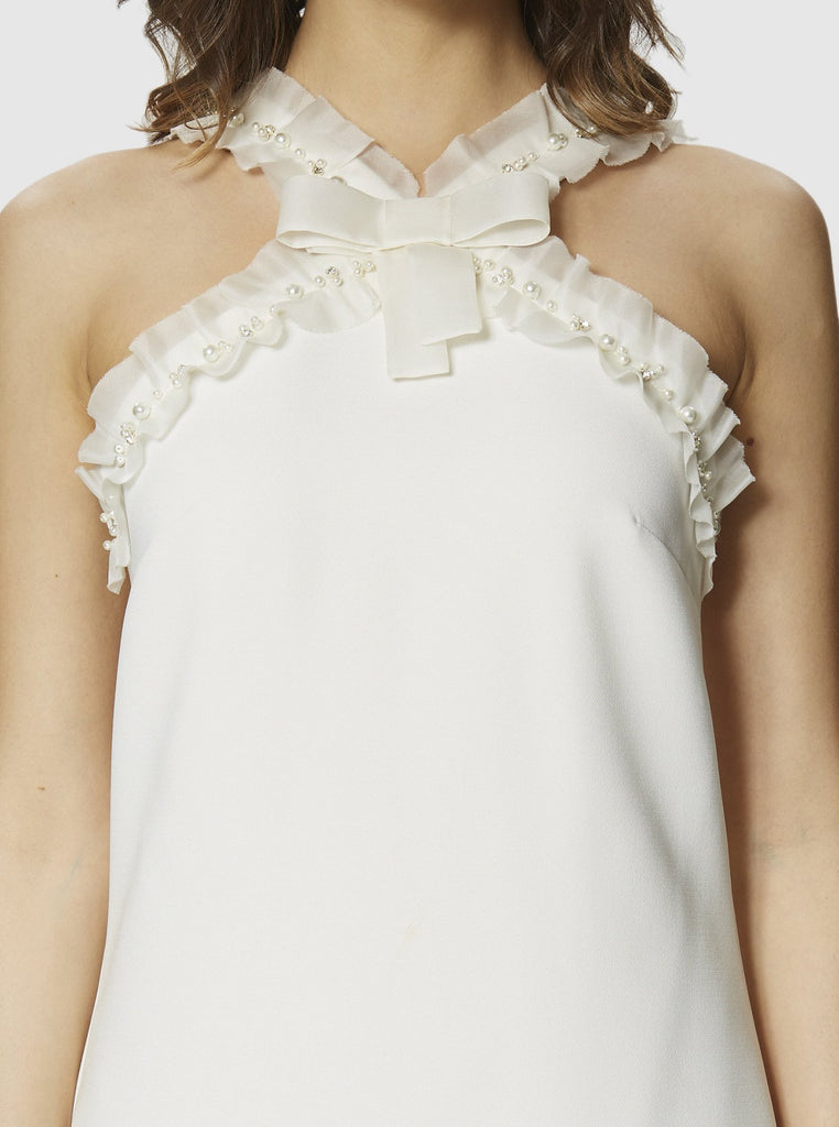 BOW DETAILED EMBELLISHED DRESS