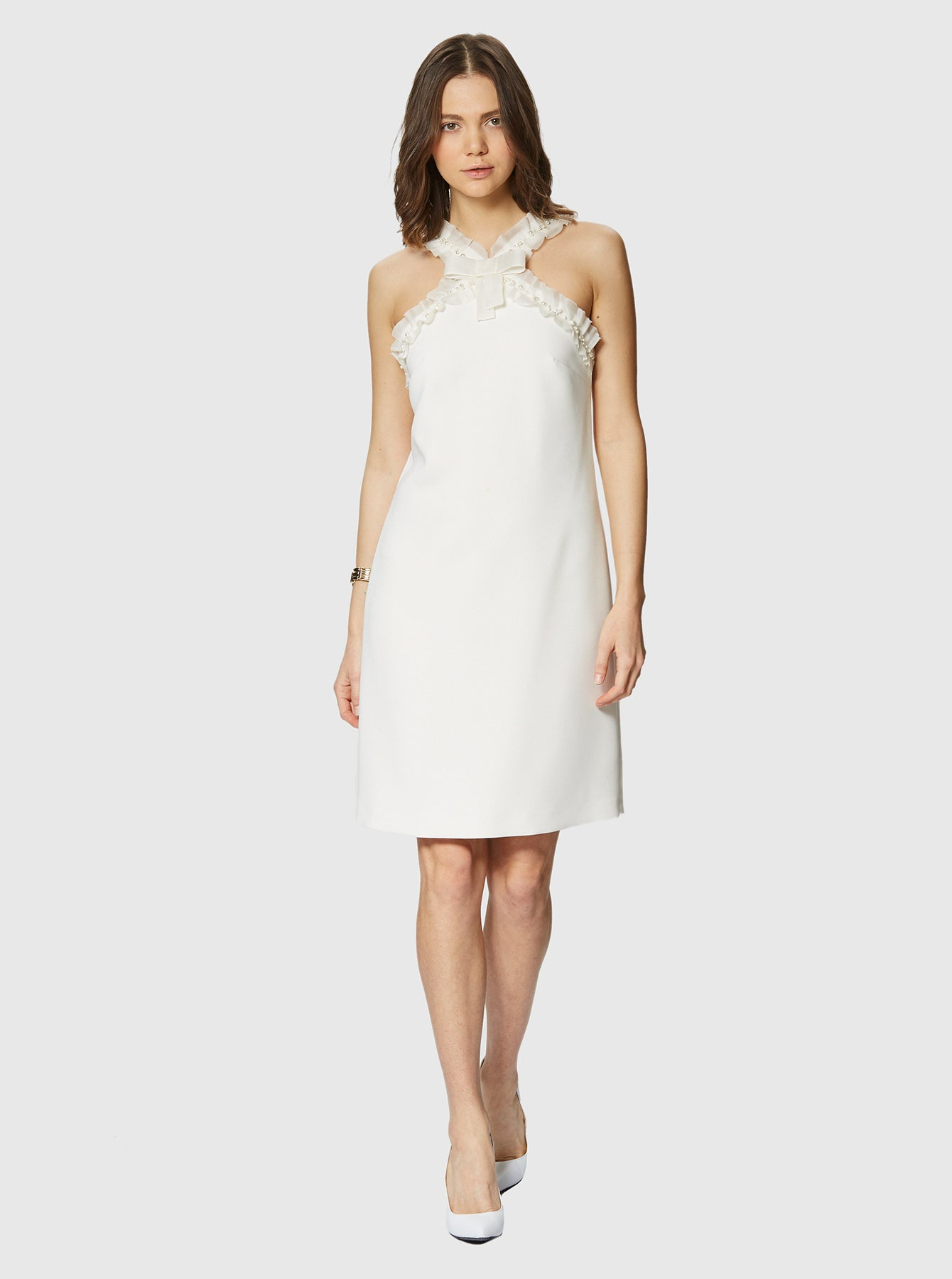ROMAN USA-Pearl Detailed Halter Dress-