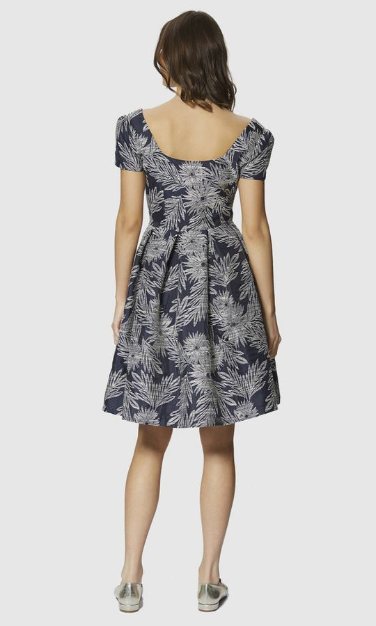 Navy Pleated Floral Dress