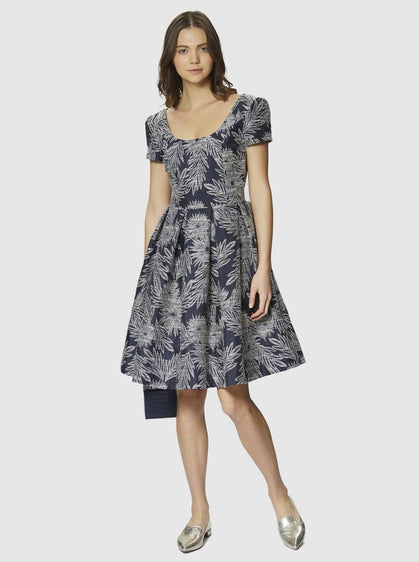 ROMAN USA-Structured Navy Botanical Print Dress-