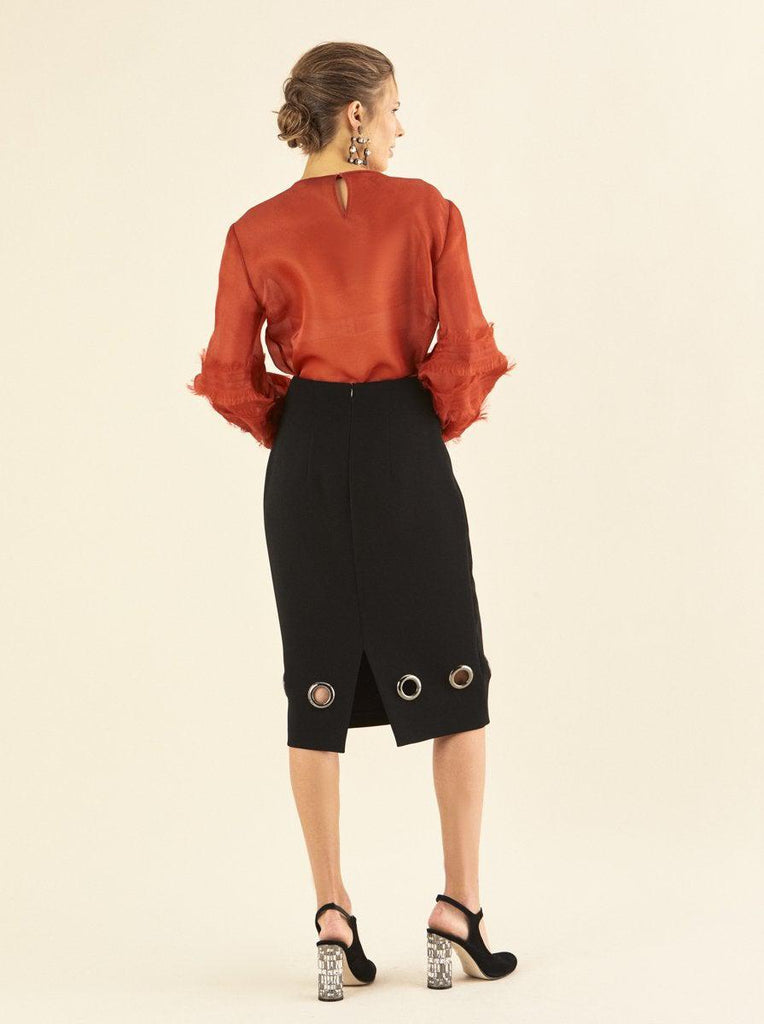 BOTTOM DETAILED PENCIL SKIRT