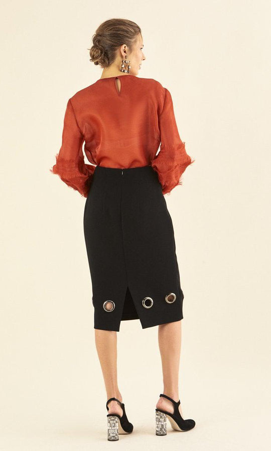 PENCIL SKIRT WITH CIRCLE METALS