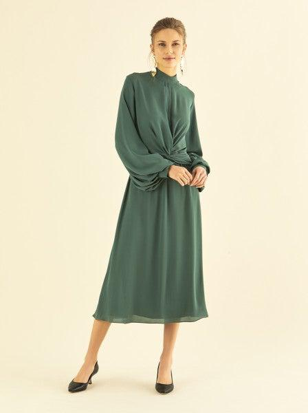ROMAN USA-Twist Front Bell Sleeve Midi Dress-- [NAVY] - [BLUE]