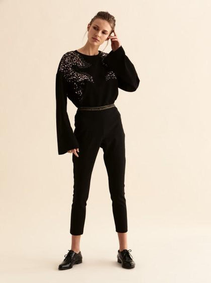 Sequin Embellished Wide Sleeve Sweater