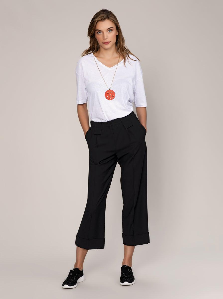 ROMAN USA-BLACK Wool Crop Pant-- [BLACK]