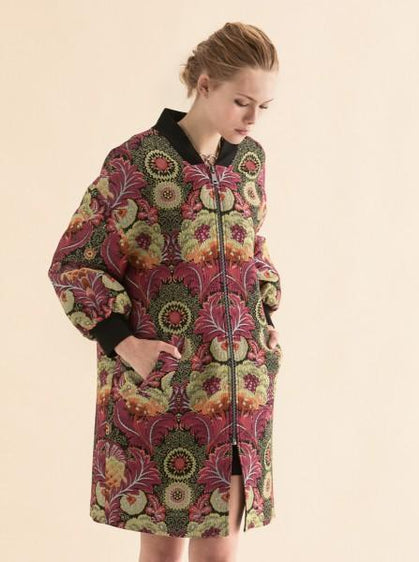 Floral Ribbed Trim Overcoat