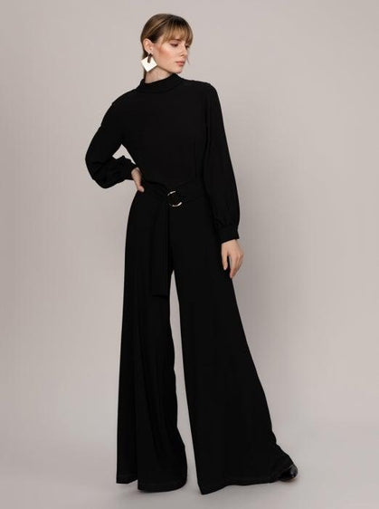 ROMAN USA-EXTRA WIDE-LEG MOCKNECK JUMPSUIT-- [BLACK]