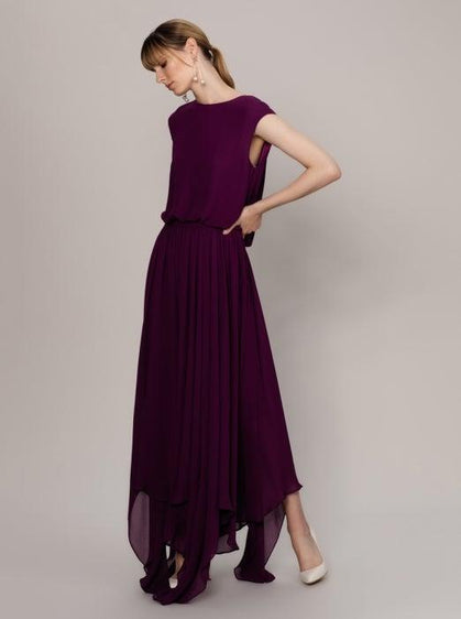 ROMAN USA-Flowing Purple Cap Sleeve Gown-- [PURPLE]