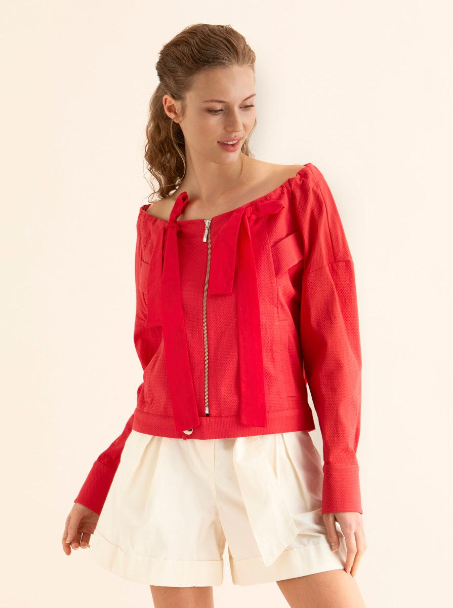 ROMAN USA-OFF SHOULDER JACKET-- [CORAL]