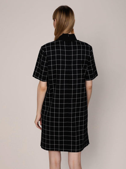 Black Mockneck Shift Dress
