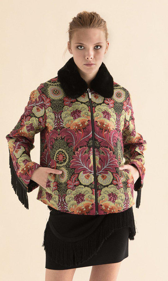 Fringe Trimed Floral Jacket