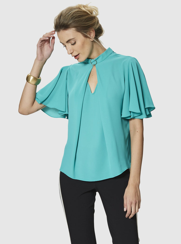 SHORT BUTTERFLY SLEEVE BLOUSE