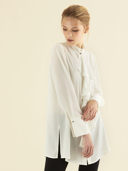 Off-White Mockneck Ruffle Tunic